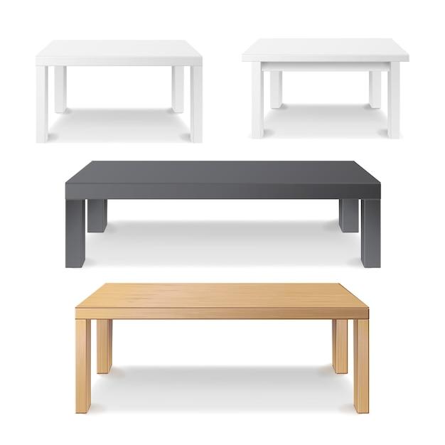 Tavolo quadrato vuoto in legno Vettore Premium