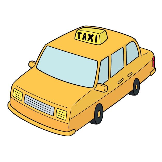 Taxi dei cartoni animati Vettore Premium