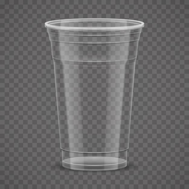 Tazza asportabile di plastica trasparente vuota isolata Vettore Premium