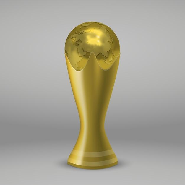 Tazza d'oro di calcio realictic isolata Vettore Premium