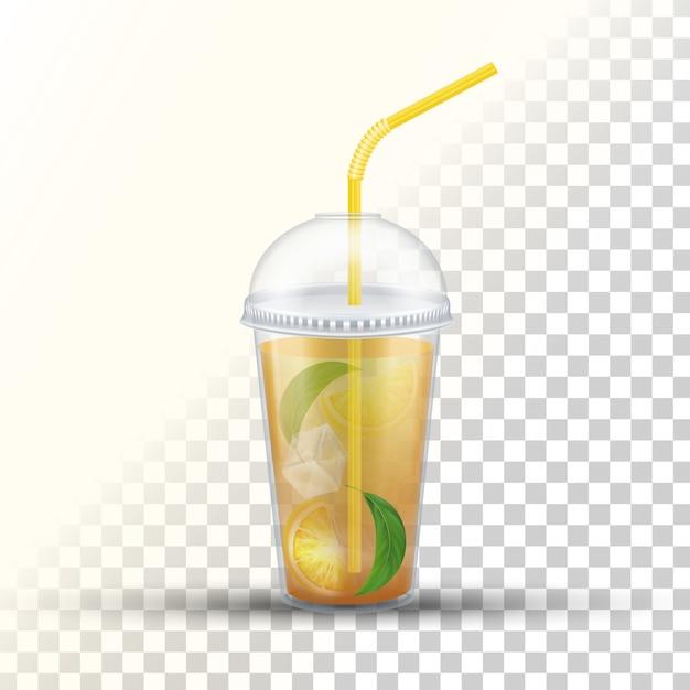 Tazza da asporto in plastica per tè freddo Vettore Premium