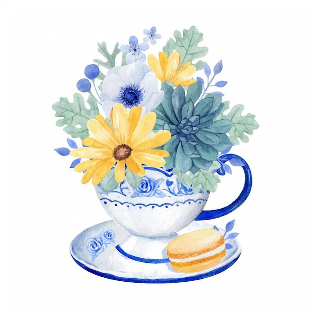 Tazza da tè vintage con un bel mazzo di fiori, aster, anemone e succulenta nella tazza da tè con amaretto Vettore Premium