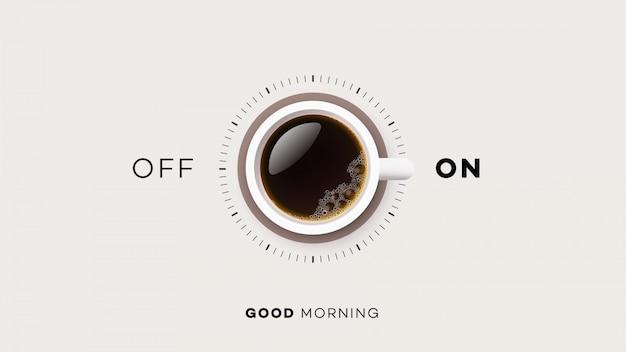 Tazza di caffè con acceso e spento Vettore Premium