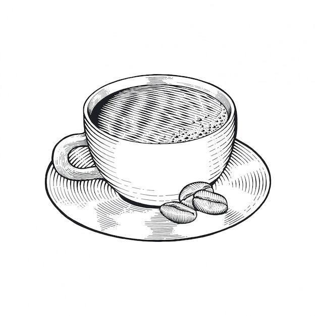 Tazza di caffè con bean drawing Vettore Premium