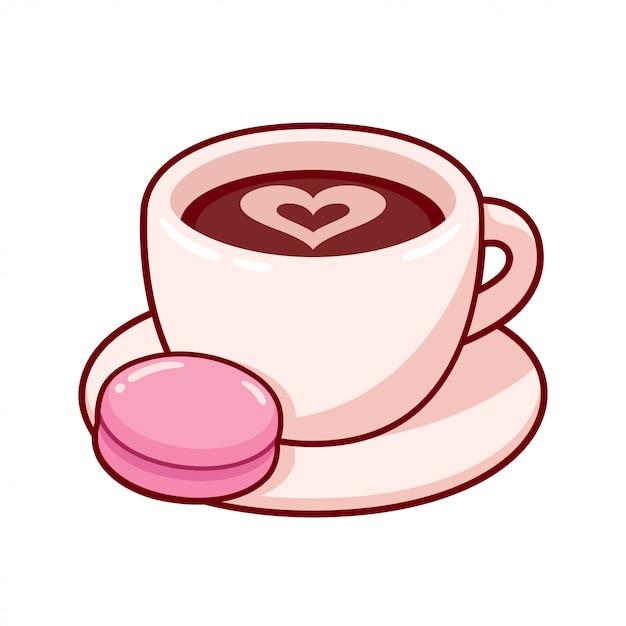 Tazza di caffè con biscotto Vettore Premium