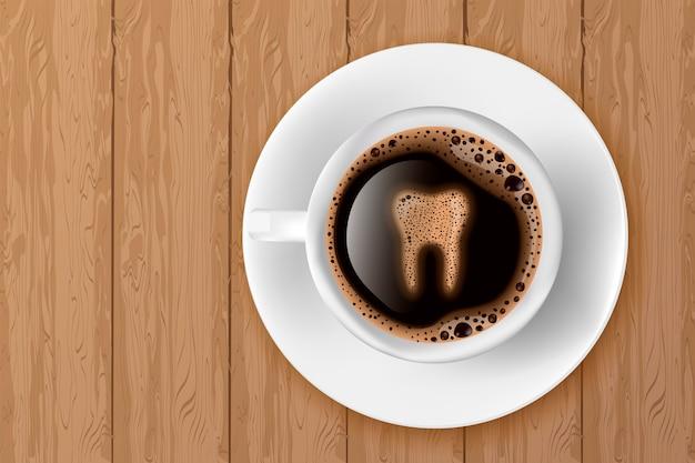 Tazza di caffè con dente da schiuma Vettore Premium