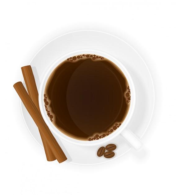 Tazza di caffè con l'illustrazione di vettore di vista superiore dei bastoni di cannella Vettore Premium