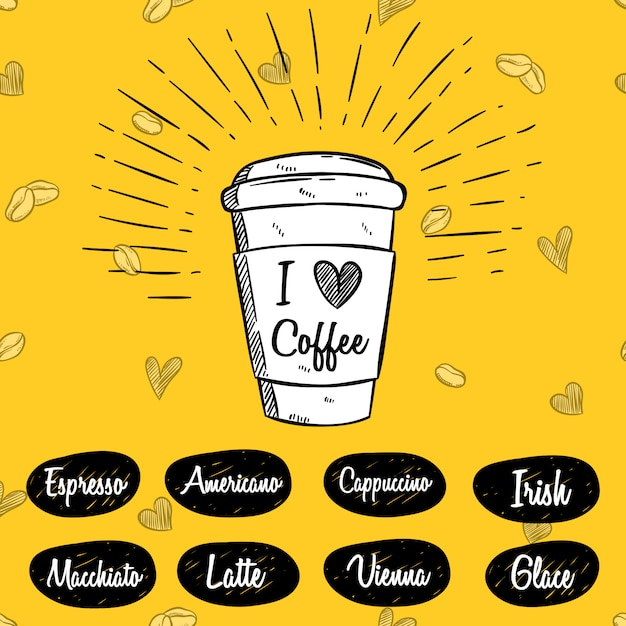 Tazza di caffè con stile disegnato a mano o schizzo Vettore Premium