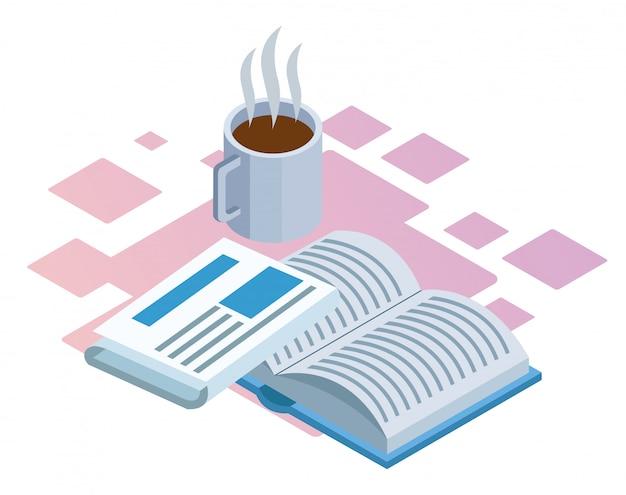 Tazza di caffè, giornale e libro su sfondo bianco, colorato isometrico Vettore Premium