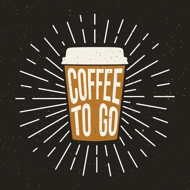 Tazza di caffè in carta con effetto testo e grunge. Vettore Premium