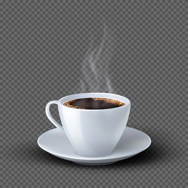 Tazza di caffè realistica bianca con fumo isolato Vettore Premium