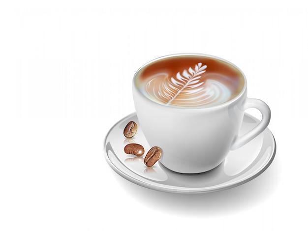 Tazza di caffè realistico di arte vettoriale. Vettore Premium