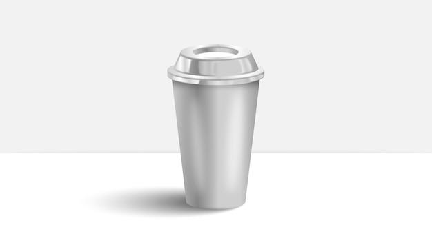 Tazza di caffè sul tavolo bianco Vettore Premium