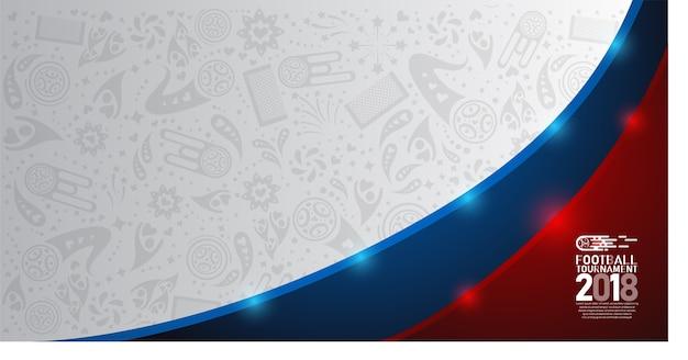 Tazza di calcio di campionato del mondo 2018 su fondo astratto bianco, blu e rosso Vettore Premium