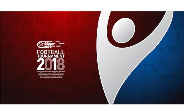 Tazza di calcio di campionato del mondo 2018 su fondo astratto blu e rosso Vettore Premium