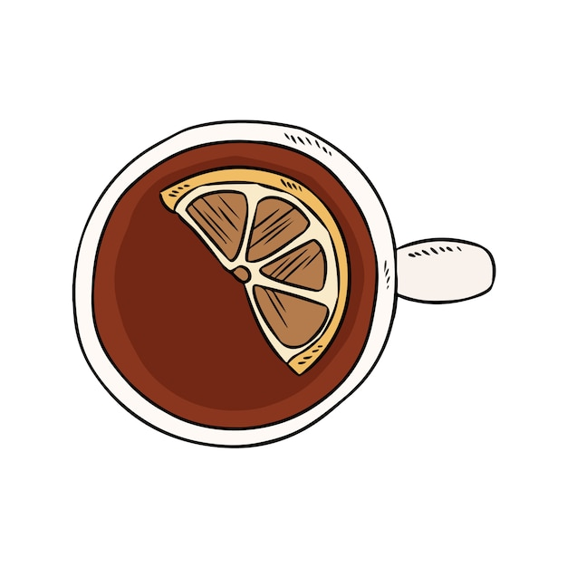 Tazza di tè al limone Vettore Premium