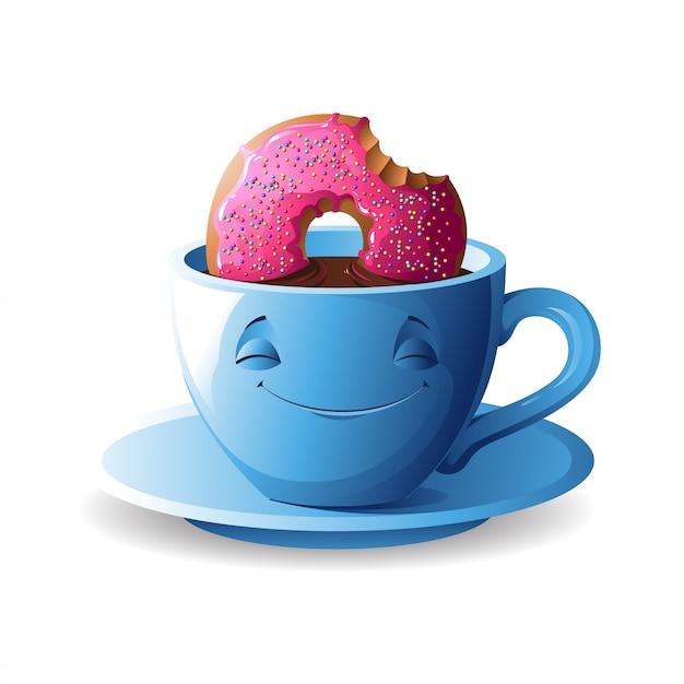 Tazza di tè con una ciambella. Vettore Premium