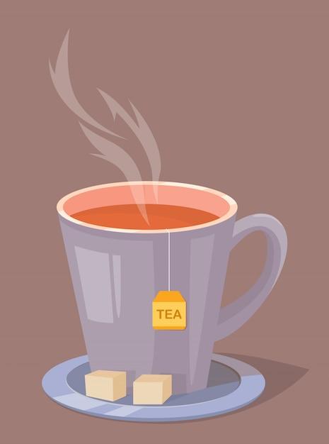 Tazza di tè con zucchero su un piatto Vettore Premium