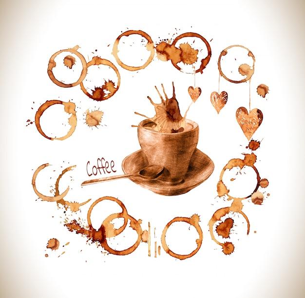 Tazza disegnata versare il caffè con spruzzi e macchie. Vettore Premium