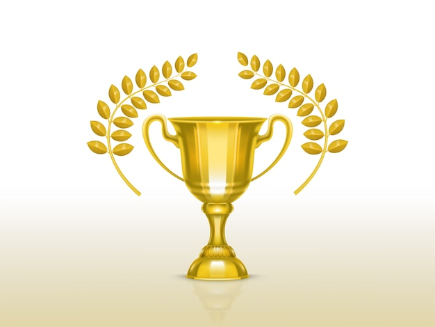 Tazza realistica 3d con rami di ulivo, trofeo d'oro per il vincitore della competizione Vettore gratuito