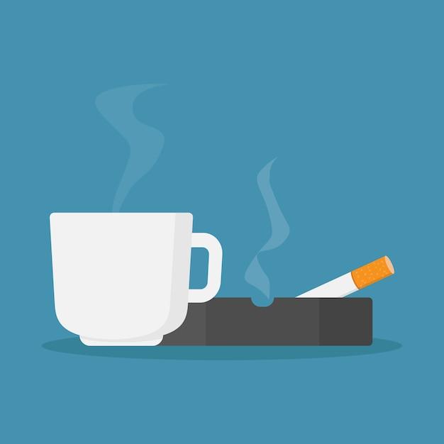 Tazze da caffè e sigarette nel posacenere Vettore Premium