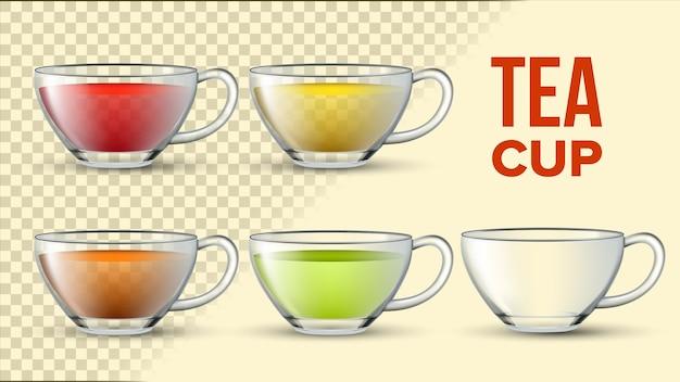 Tazze da tè con liquido di colore Vettore Premium