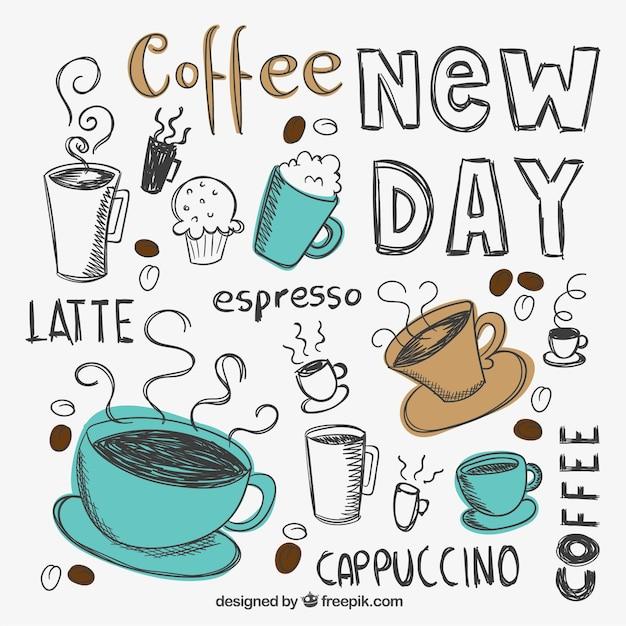 Tazze di caffè disegnate a mano Vettore gratuito