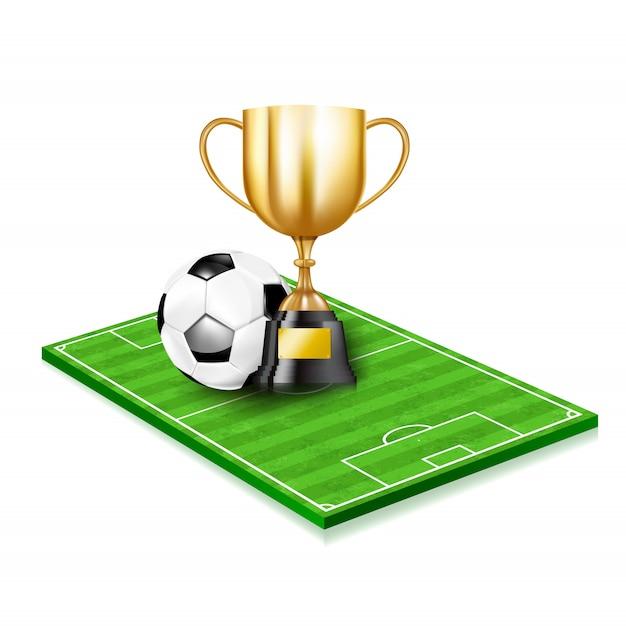 Tazze e pallone da calcio dorati del trofeo 3d Vettore Premium