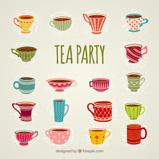Tazze per tea party Vettore gratuito