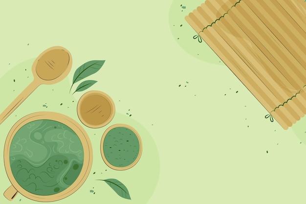 Tè matcha disegnato a mano - sfondo Vettore gratuito