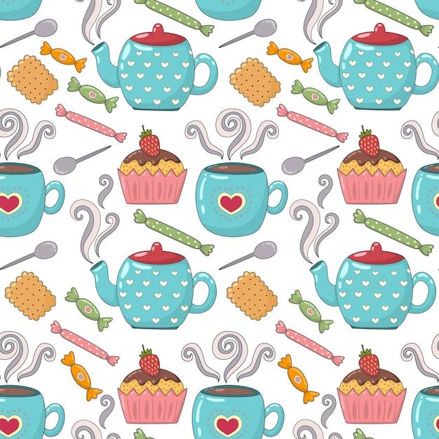 Tea time carino seamless con tazze da tè, teiere e caramelle Vettore Premium