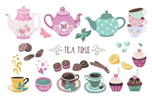 Tea time doodle set premium Vettore Premium