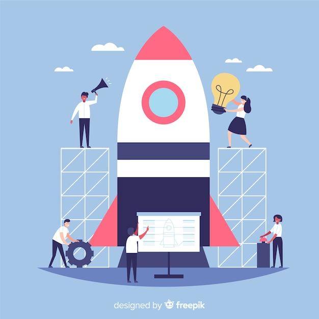 Team building uno sfondo di razzi Vettore gratuito