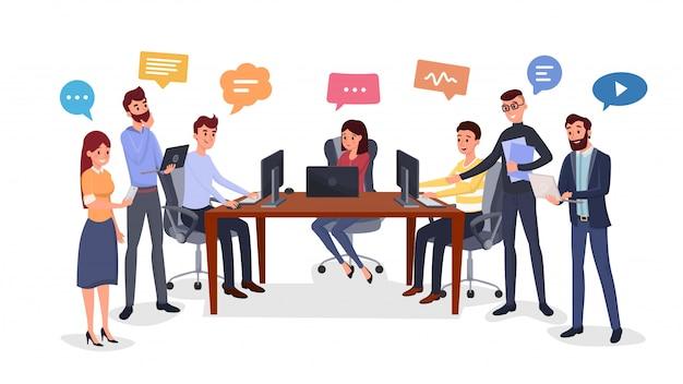 Team di brainstorming, generazione di idee piatte Vettore Premium