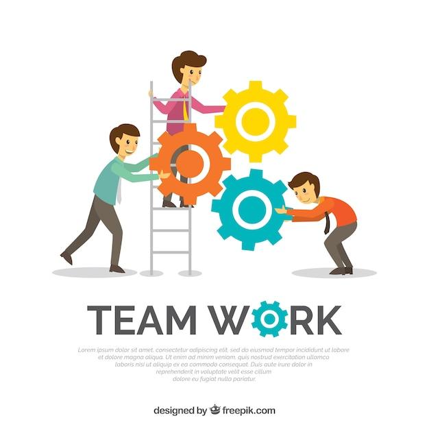 Team di lavoro sullo sfondo in stile piatto Vettore gratuito