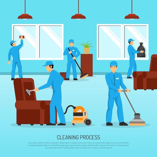 Team di pulizia industriale work flat poster Vettore gratuito