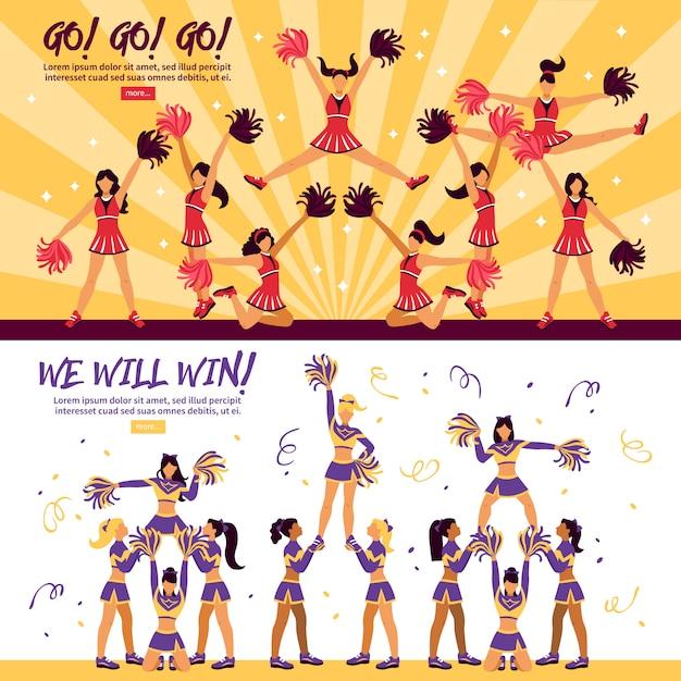 Team flat banner delle cheerleaders Vettore gratuito