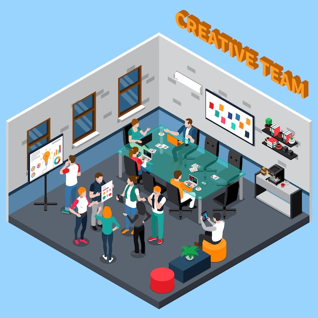 Team isometric illustration creativo Vettore gratuito