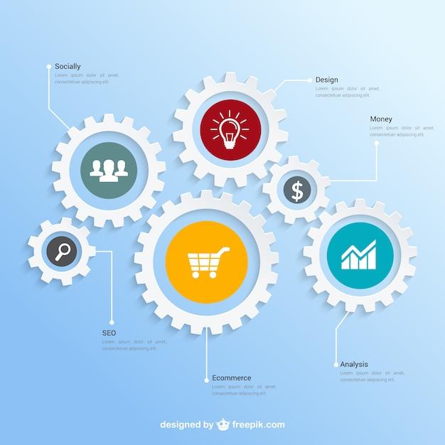 Teamwork infografica Vettore gratuito