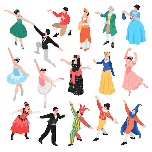 Teatro di balletto d'opera isometrica con personaggi umani isolati di attori teatrali e ballerini in costume Vettore gratuito
