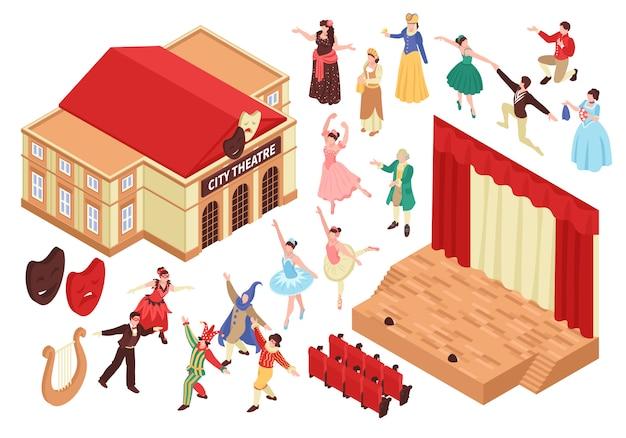Teatro lirico isometrico impostato con posti a sedere isolati di palcoscenico e personaggi di animatori Vettore gratuito