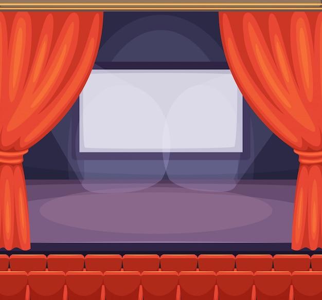 Teatro o palcoscenico cinematografico con tende rosse. sfondo vettoriale in stile cartoon Vettore Premium