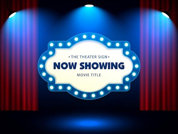 Teatro retrò segno sulla tenda rossa Vettore Premium