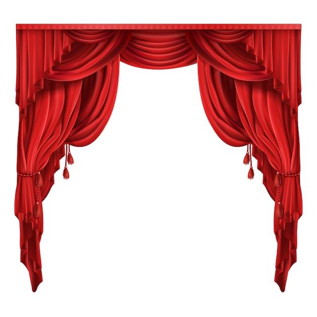 Teatro teatro tende rosse vettore realistico Vettore gratuito