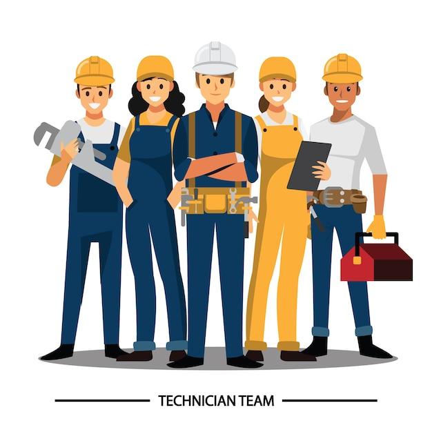 Tecnico, costruttori, ingegneri e meccanici Vettore Premium