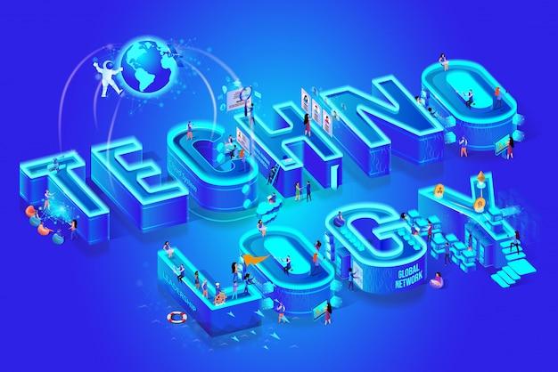 Tecnologia 3d parola isometrica, poca gente intorno Vettore Premium