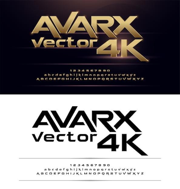Tecnologia alfabeto oro metallico e disegni di effetto Vettore Premium