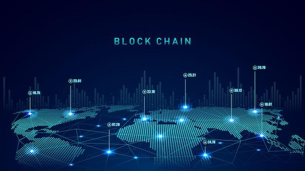 Tecnologia blockchain con concetto di connessione globale Vettore Premium