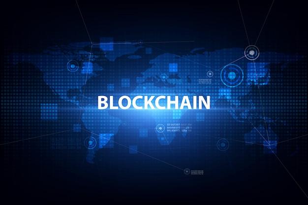 Tecnologia blockchain su sfondo futuristico con la rete di mappe del mondo Vettore Premium