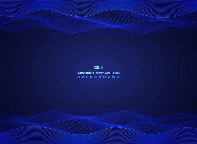 Tecnologia blu astratta ondulata del modello moderno del materiale illustrativo Vettore Premium